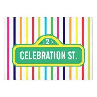 street sign primary colors rainbow modern party 5x7 paper invitation card