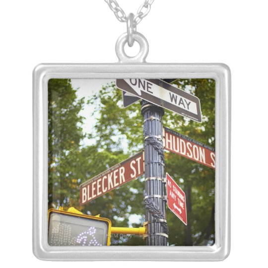 Street Signs 2 Silver Plated Necklace