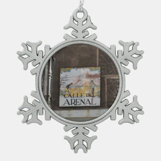 Street signs of Madrid Snowflake Pewter Christmas Ornament