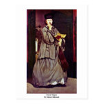 Street Singer By Manet Edouard Post Cards