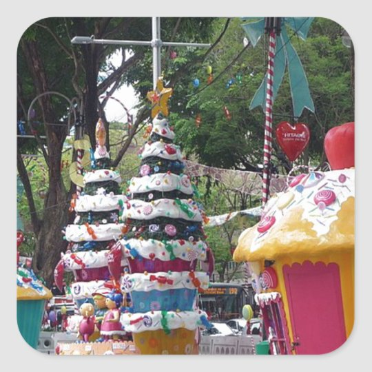Street size Christmas decorations Square Sticker