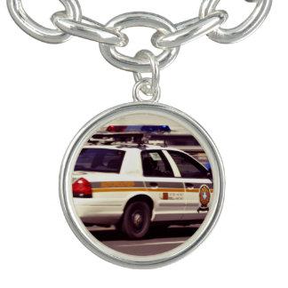 Street Themed, Busy Cops Car Patrol Passing Throug Charm Bracelet