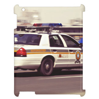 Street Themed, Busy Cops Car Patrol Passing Throug Cover For The iPad 2 3 4