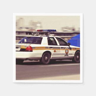 Street Themed, Busy Cops Car Patrol Passing Throug Napkin