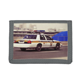Street Themed, Busy Cops Car Patrol Passing Throug Trifold Wallet