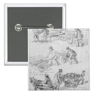Street Traders, London, 1842 2 Inch Square Button