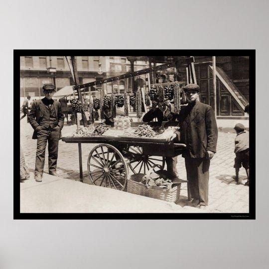 Street Vendor Italian Feast 1908 Poster