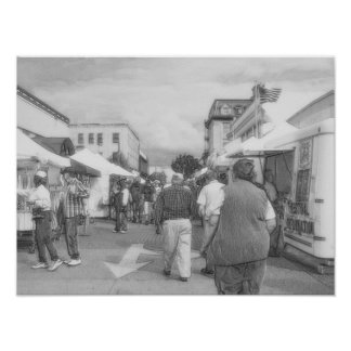 Street Vendors BanW Poster