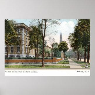 Street View of Buffalo, NY 1907 Vintage Print
