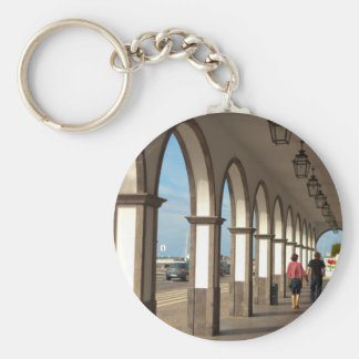 Street with arches basic round button keychain