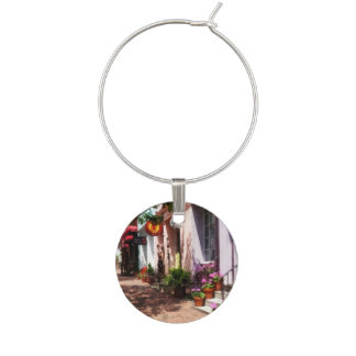 Street With Art Gallery and Tobacconist Alexandria Wine Glass Charms