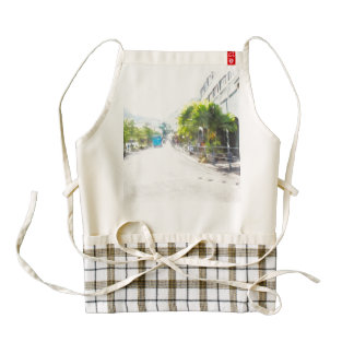 Street with metal borders zazzle HEART apron