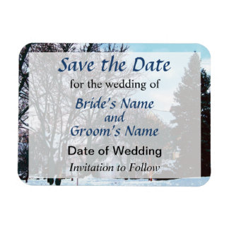 Street With Snow and Evergreens Save the Date Magnet