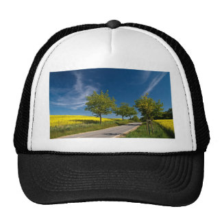 Street with trees and rape field trucker hat