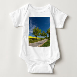 Street with trees and rape field t-shirts