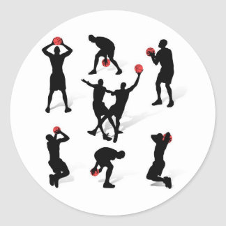 streetball-players classic round sticker