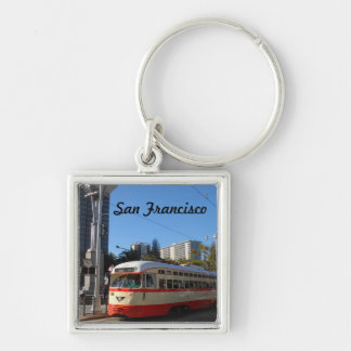 Streetcar- San Francisco Silver-Colored Square Keychain