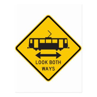 Streetcar Warning Highway Sign Postcard