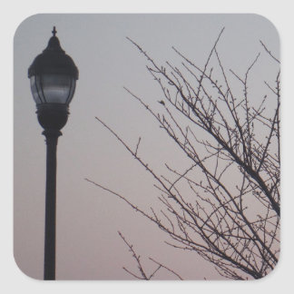 Streetlight and A Purple Sky Dusk Square Sticker