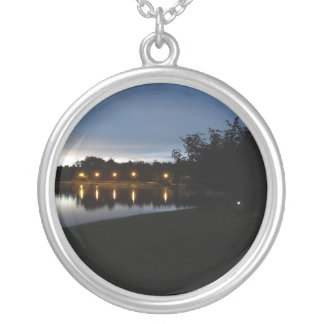 Streetlights Reflecting on the Lake Round Pendant Necklace