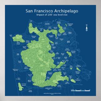 "Streetmap sumergido 36x36 los"" 200ft de San Franci Póster"