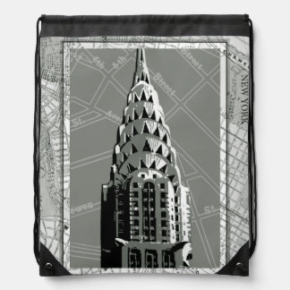 Streets of New York with Empire State Building Drawstring Backpack
