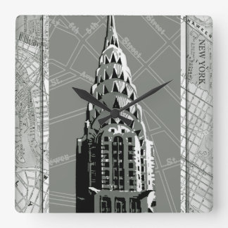 Streets of New York with Empire State Building Square Wall Clock