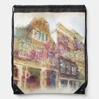 Streets of Old Amsterdam Drawstring Bag