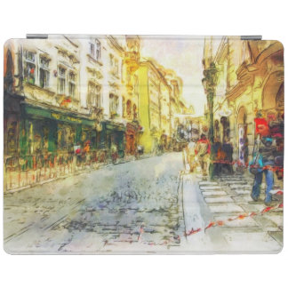 Streets of Old Prague watercolor iPad Cover