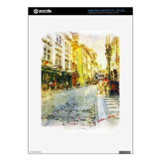 Streets of Old Prague watercolor iPad 3 Decals