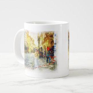 Streets of Old Prague watercolor Large Coffee Mug