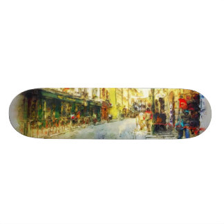 Streets of Old Prague watercolor Skateboard
