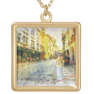 Streets of Old Prague watercolor Square Pendant Necklace