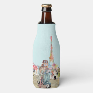 Streets of Paris - shopping and walking the dog Bottle Cooler