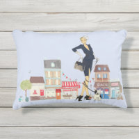 Accent Pillows. Streets Of Paris   Shopping And Walking The Dog