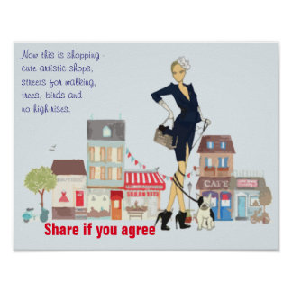 Streets of Paris - shopping and walking the dog Poster