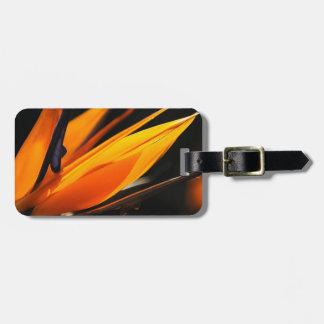 Strelitzia anaranjado de la ave del paraíso etiqueta para equipaje