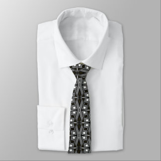 Strength | Black White Geometry Design Tie