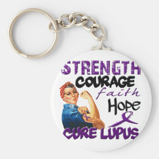 Strength, Courage, Faith, Hope, - Cure Lupus Keychain
