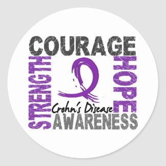 Strength Courage Hope Crohn's Disease Classic Round Sticker