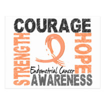 Strength Courage Hope Endometrial Cancer Postcard