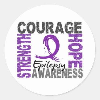 Strength Courage Hope Epilepsy Classic Round Sticker