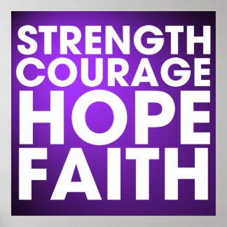 Strength Courage Hope Faith - Inspirational Purple Print