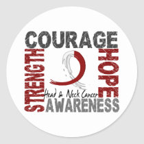 Strength Courage Hope Head Neck Cancer Classic Round Sticker