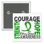 Strength Courage Hope Kidney Disease 2 Inch Square Button