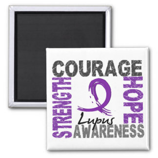 Strength Courage Hope Lupus 2 Inch Square Magnet