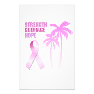 Strength Courage Hope Pink Ribbon Palm Trees Stationery