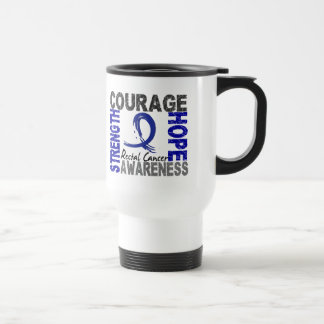 Strength Courage Hope Rectal Cancer 15 Oz Stainless Steel Travel Mug