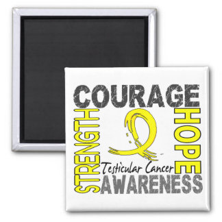 Strength Courage Hope Testicular Cancer 2 Inch Square Magnet