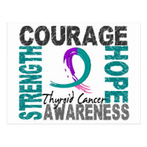 Strength Courage Hope Thyroid Cancer Postcard